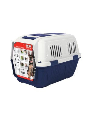 FurKidz Deluxe Giant Animal Carrier Blue/Beige 82 x 57 x 60cm with handle & wheels