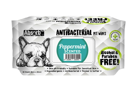 Absorb Plus Antibacterial Dog Wipes - 80 Sheets