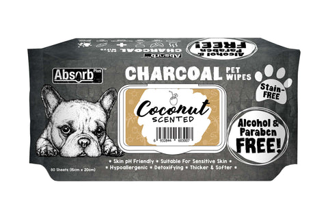 Absorb Plus Charcoal Dog Wipes - 80 Sheets