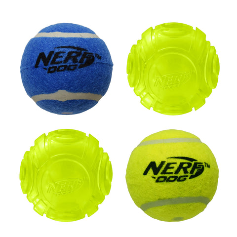 Nerf 4 Ball Pack 10cm -  2 x Squeak Tennis Balls / 2 x TPR Lightning LED Balls