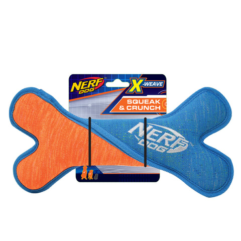 Nerf - X Weave Squeak Twist Bone - Blue/Orange 24cm