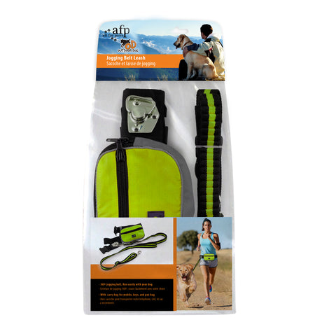 Outdoor Jogging Leash/Collar with Bag Green