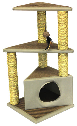 PaWise Seagrass Twin Cat Platform with House & Play Toy