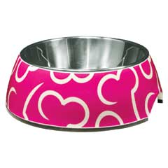 Dogit 2 in 1 Style Durable Dog Bowl Pink/Bones