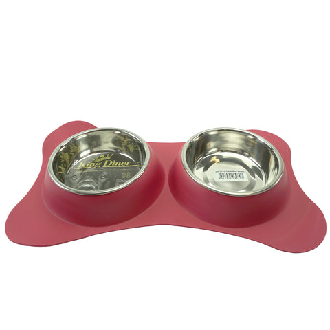 King Diner Twin Set Blue Stainless Steel Bowls - 2 x 18cm