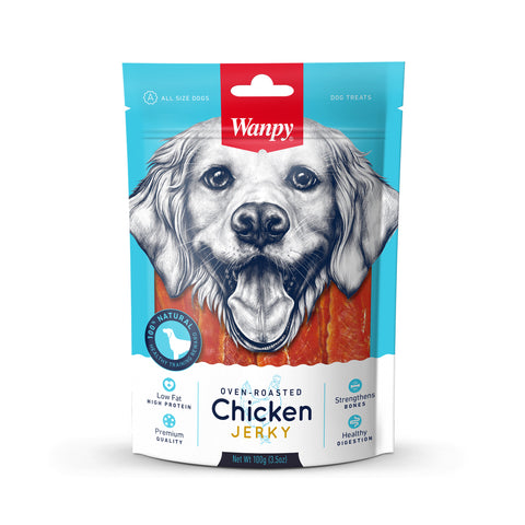 Wanpy Dry Chicken Jerky Strips - 100gm Bag