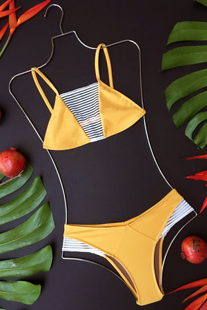 Bandits Swimwear Leighton Paneled Bottom in Mango Ivory Mesh