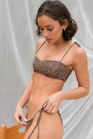Dbrie Swimwear Daisy Bikini Top in Leopard