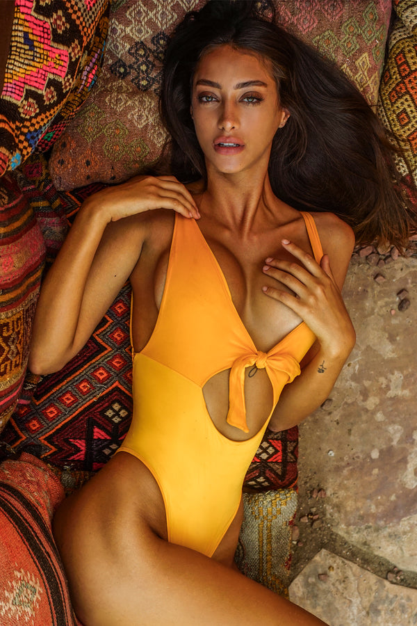 Entreaguas Knitted One Piece in Mustard