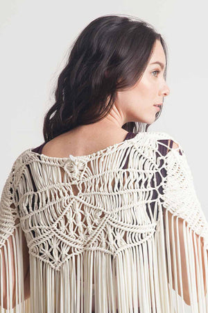 Entreaguas Hand Woven One Piece Cardigan in Ivory