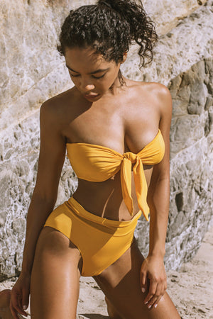 Entreaguas Knitted Strapless Bikini Top in Mustard