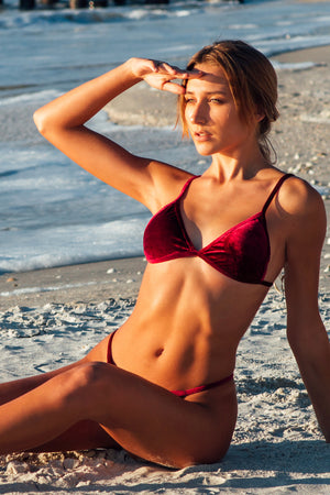 Lumahai Swimwear Basic Velvet Bikini Bottom in Fire
