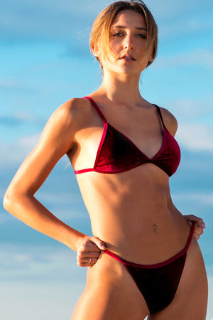 Lumahai Swimwear Basic Velvet Bikini Top in Fire