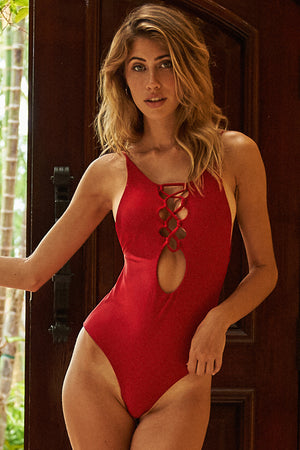 Mahina Bikinis Belle One Piece Swimsuit in Rojo
