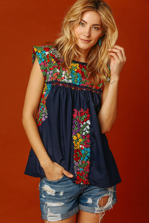 Margot Vista Hermosa Top in Navy