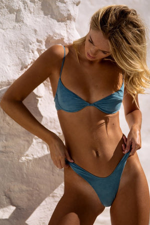 Start Me Up Underwire Suede Bra Sexy 90s Vibe Blue