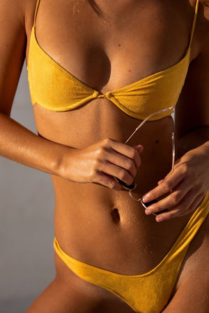 Start Me Up Underwire Suede Bra Yellow Demi Swim