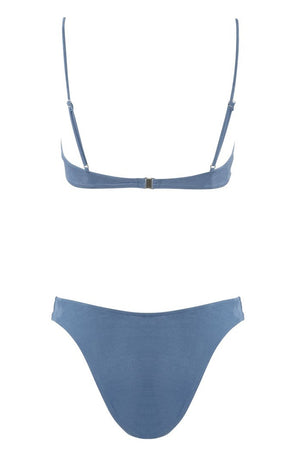 Start Me Up Underwire Suede Bra Blue Back Inset Image