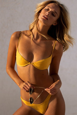Start Me Up Underwire Suede Bra Yellow Sexy Top