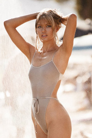 Monica Hansen Beachwear Bardot Spaghetti Strap One Piece Grey