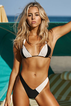 PoemaSwim Delano Bikini Bottom in Bone Black Espresso