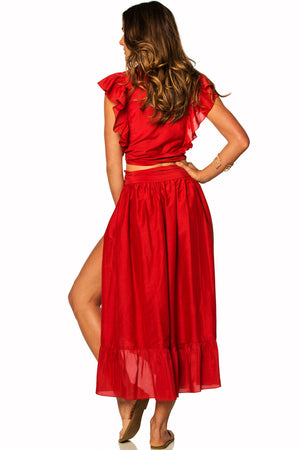 Soah Chelsea Wrap Skirt in Red