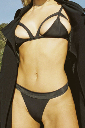 Siempre Golden Sexy Cutout Guilty Bikini Top in Midnight