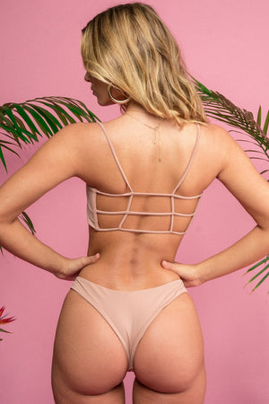 Siempre Golden Pali Top in Nude Nylon Spandex Lycra