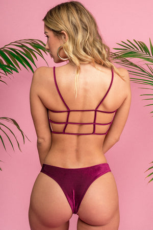 Siempre Golden Pali Bottom in Wine Velvet Ribbed Corduroy