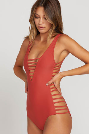 Volcom Swim GMJ  X  VOLCOM One Piece in BURNT RED