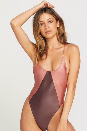 Volcom Swimwear That's Metal 1 Piece in Mauve
