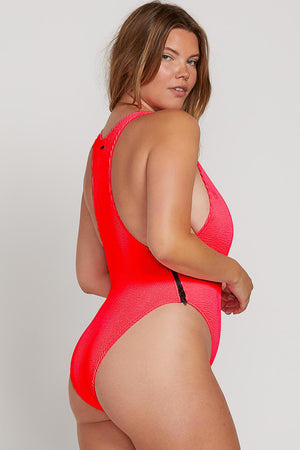 Volcom Swim On Ur Neon One Piece in Neon Pink