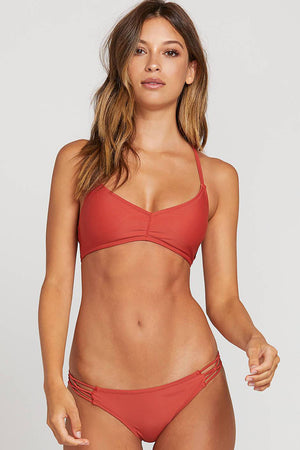 Volcom Swim Simply Solid V Neck Top in Burnt Red