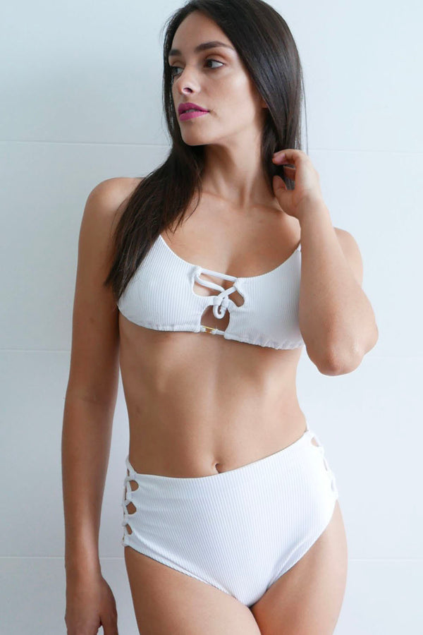 Emily High Waisted Bikini Bottom Ribbed white