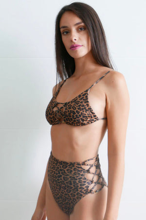 Emily High Waisted Bikini Bottom Leopard