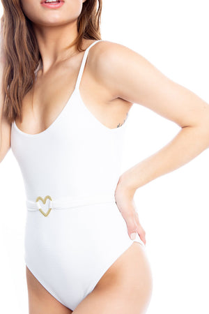 I Love Lolli Good Looking One Piece in White Rib