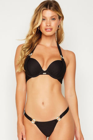 Beach Bunny Madagascar Glam Push Up Top Black