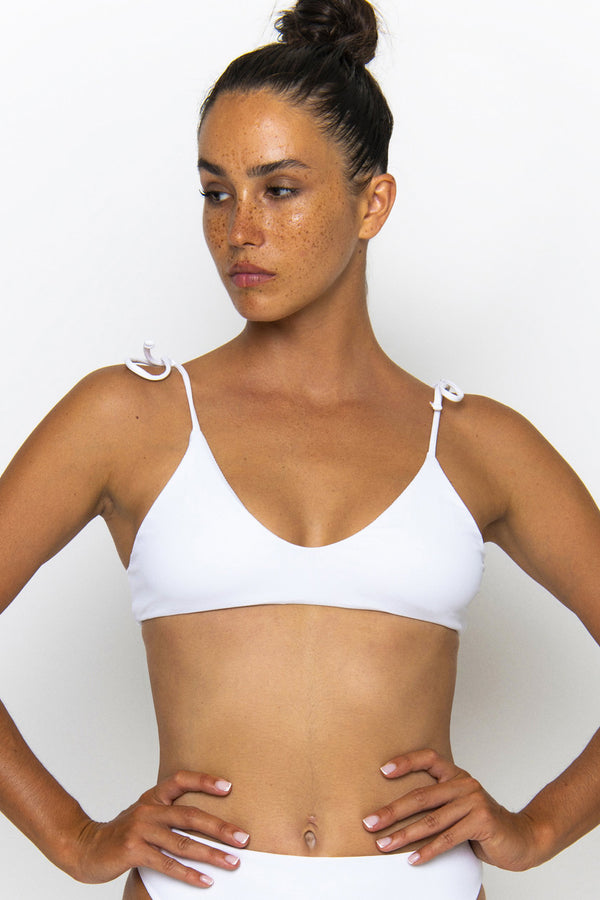 Novah Swimwear piper Top White Ribbed