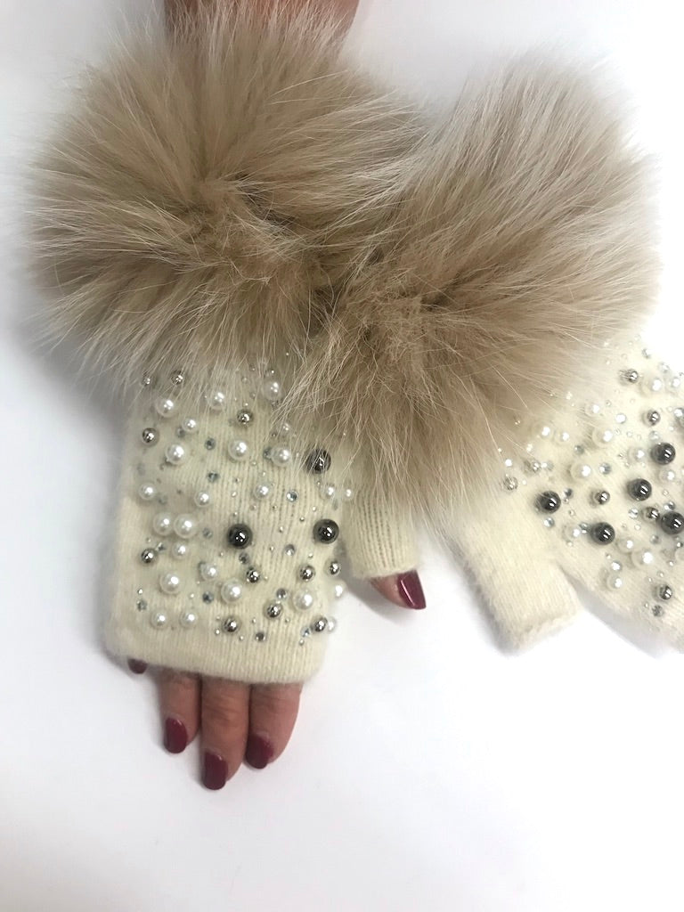Ivory Fingerless Gloves