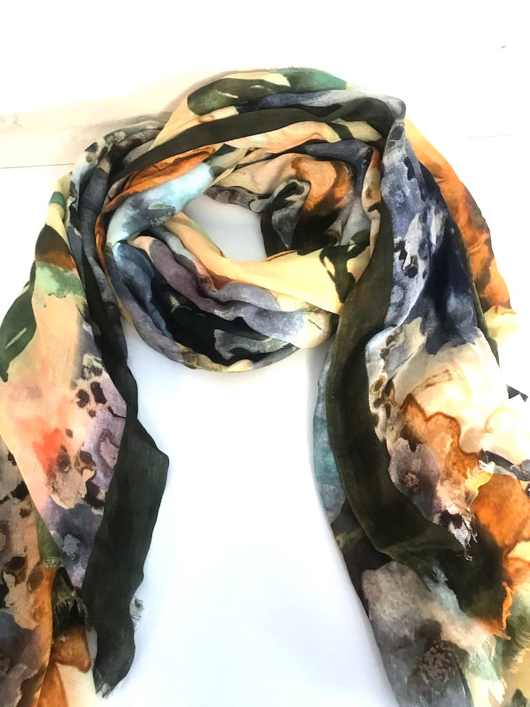 Watercolor in Floral Blooms Scarf