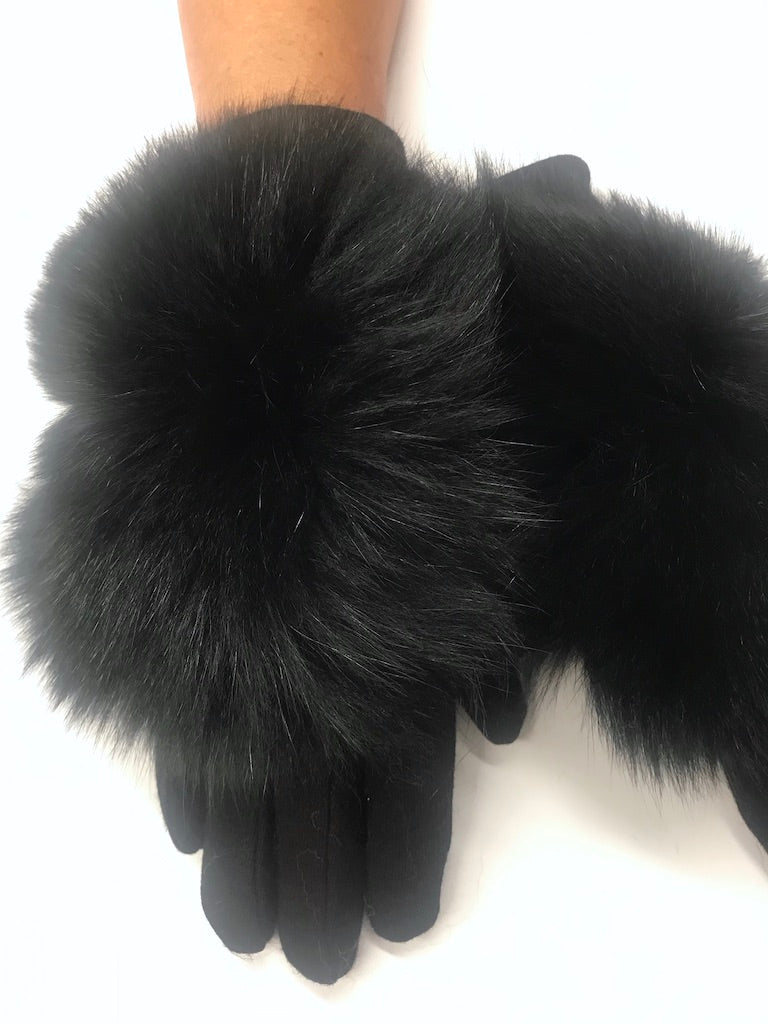 Comfort Black Fur Gloves