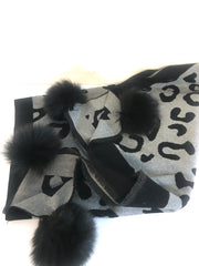 Animal Print Scarf With Fox PomPom