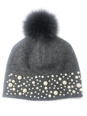 Grey Pearl Hat with Pom Poms