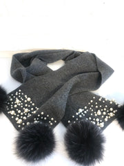 Charcoal & Pearl Knitted Scarf