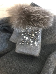 Fingerless Grey Pearl Gloves