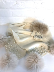 Knitted Scarf with Pearls- Ivory