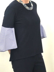 Flirty Sleeve Navy Top