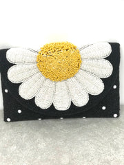 Oopsy Daisy Beaded Flower Crossbody Clutch Handbag