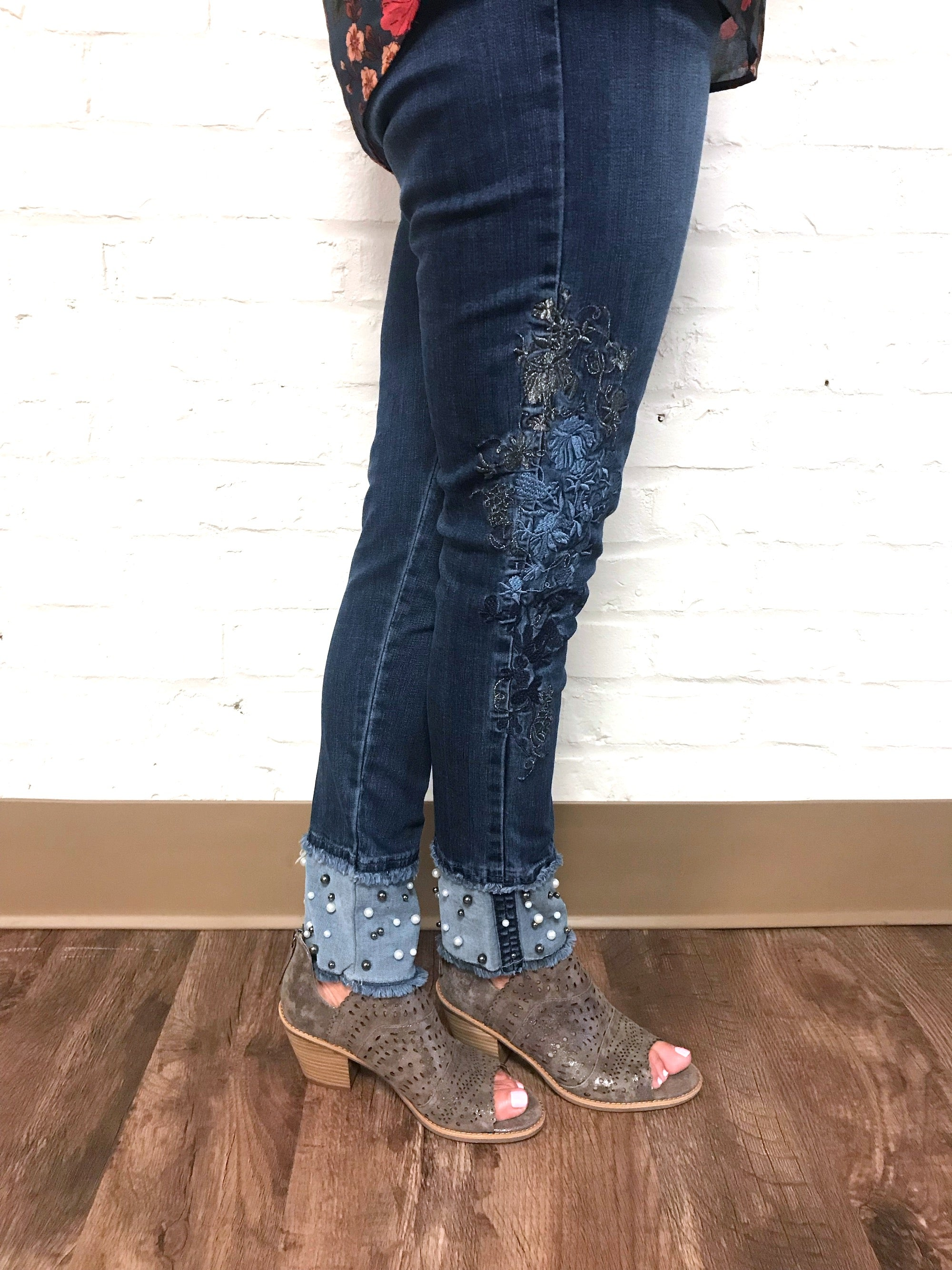 Embroidered Jean with Pearl cuff