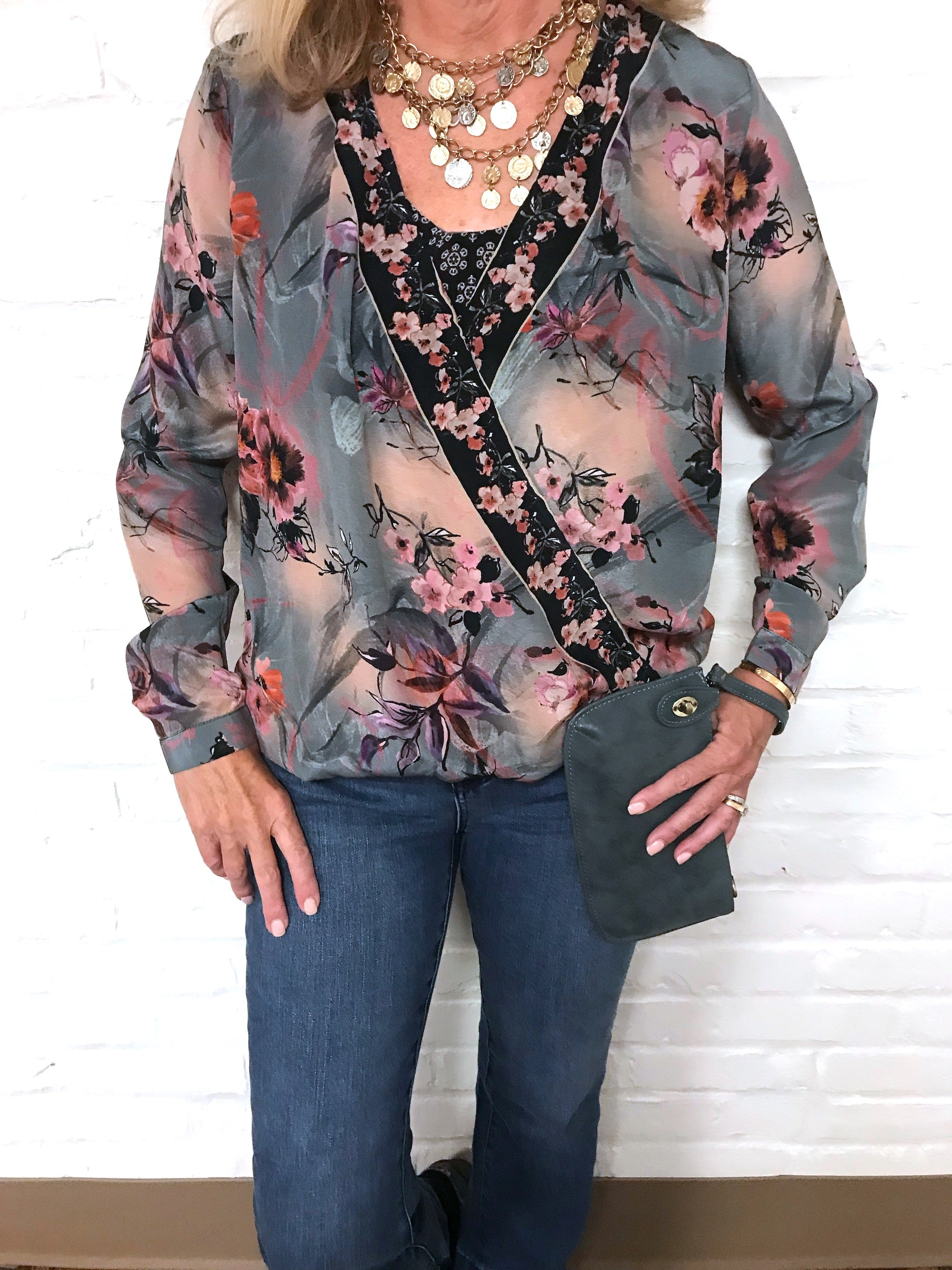 Crossover Silk Print Top